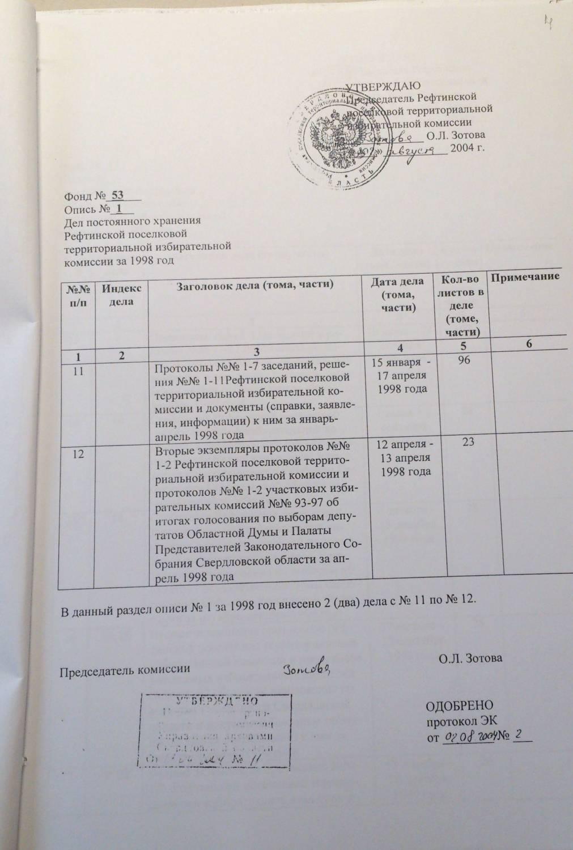 Как сделать опись документов в деле